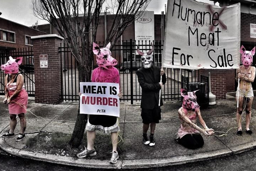 Vegans protest JBS meat-plant amidst coronavirus safety complaints by workers